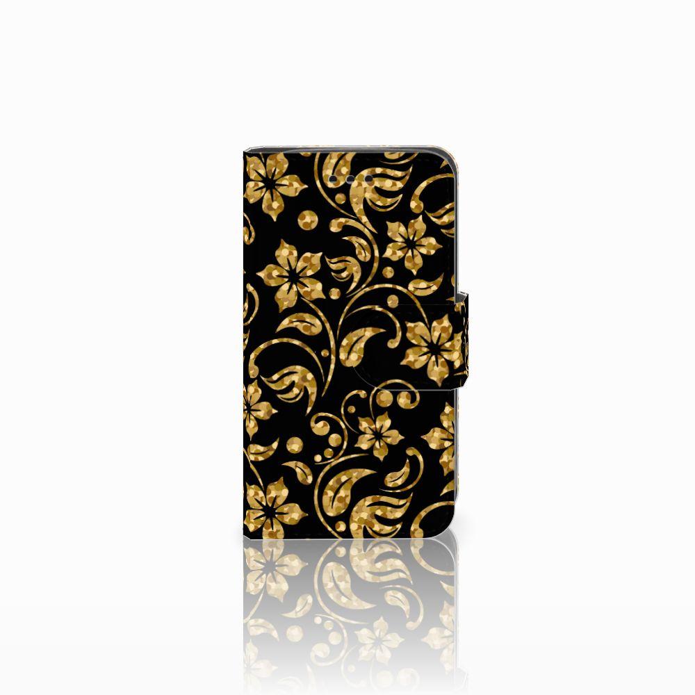 Samsung Galaxy Trend 2 Boekhoesje Design Gouden Bloemen