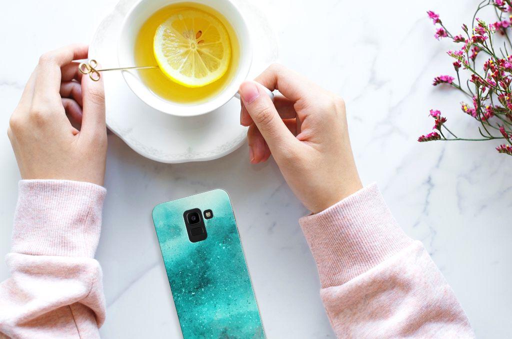 Samsung Galaxy J6 2018 Uniek TPU Hoesje Painting Blue