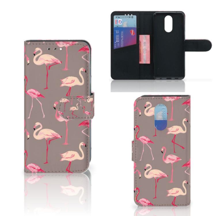 LG Q7 Telefoonhoesje met Pasjes Flamingo