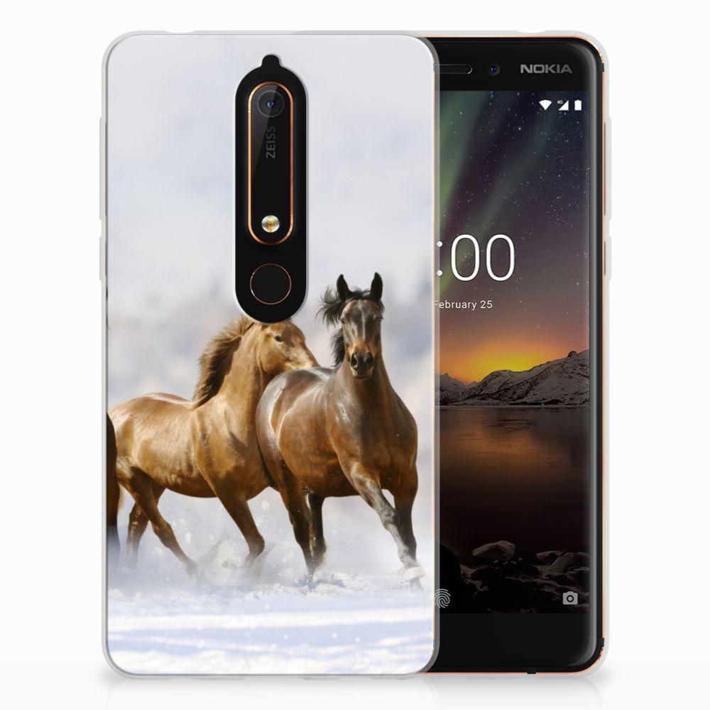Nokia 6 (2018) Uniek TPU Hoesje Paarden