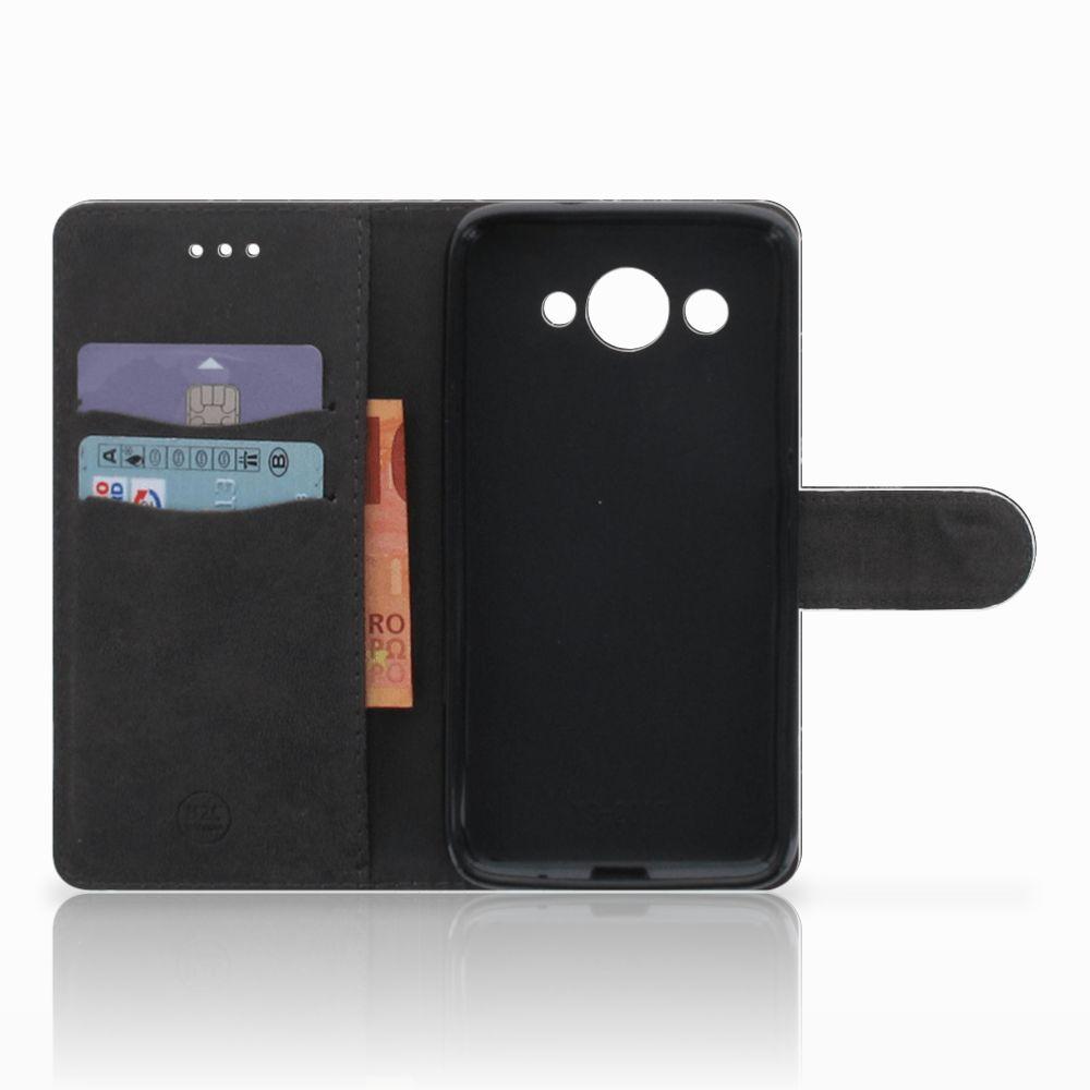 Huawei Y3 2017 Bookcase Marmer Zwart