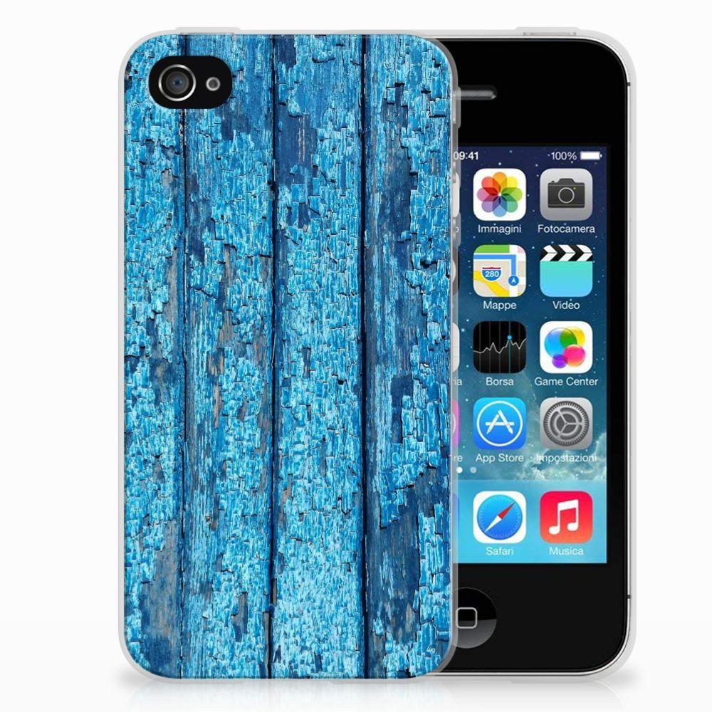Apple iPhone 4   4s Bumper Hoesje Wood Blue