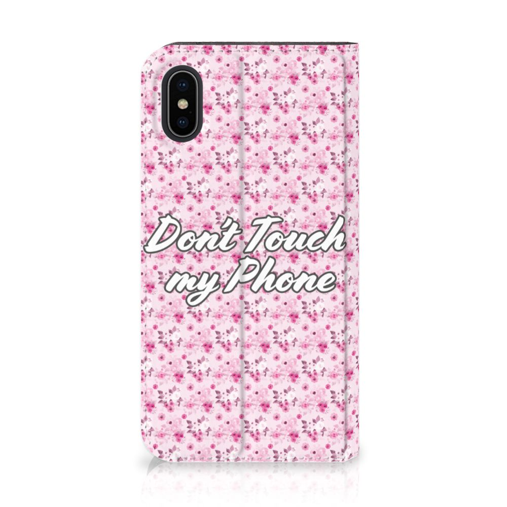Apple iPhone X | Xs Uniek Standcase Hoesje Flowers Pink DTMP