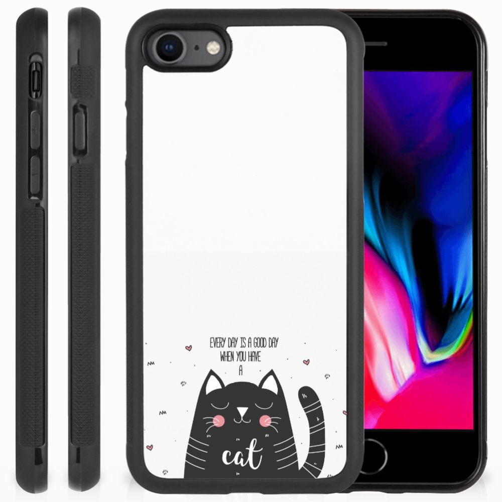 Apple iPhone 7 | 8 Bumper Hoesje Cat Good Day