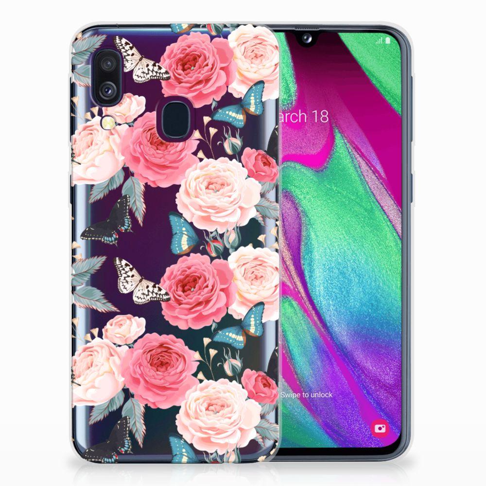 Samsung Galaxy A40 Uniek TPU Hoesje Butterfly Roses