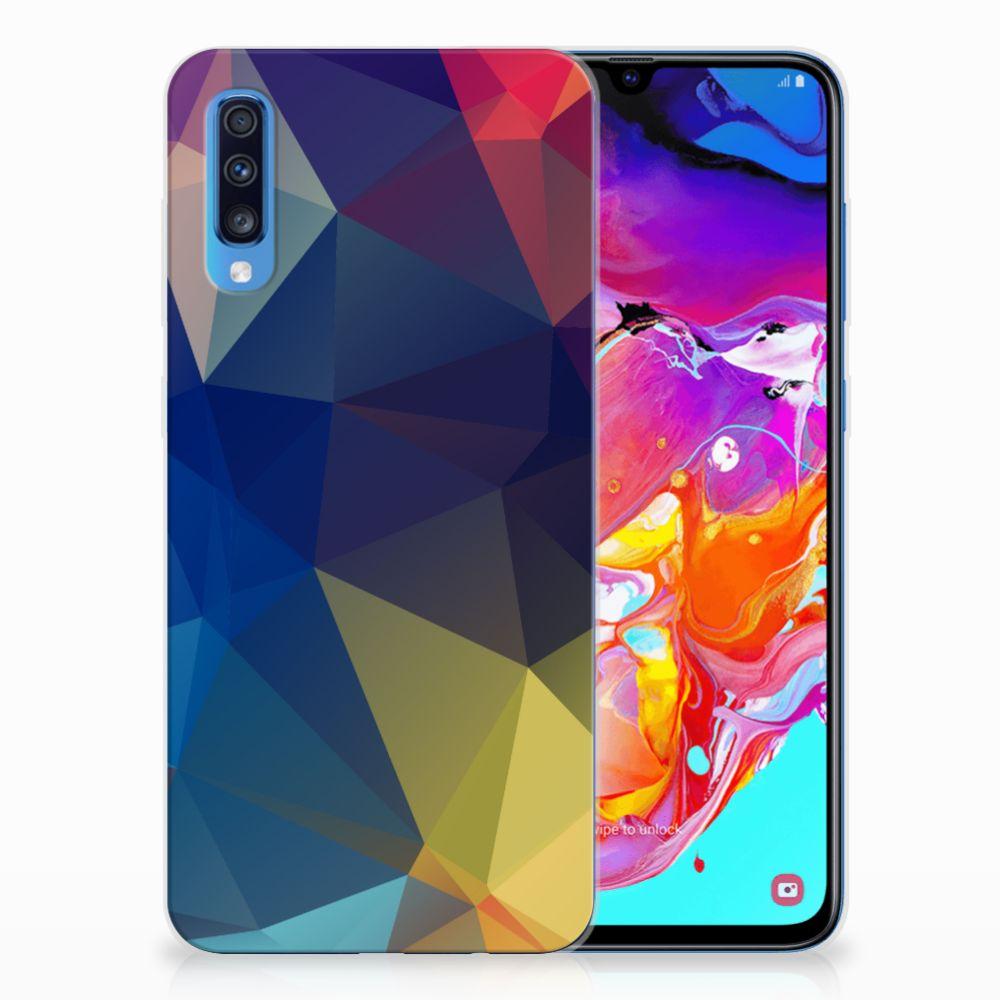Samsung Galaxy A70 TPU Hoesje Polygon Dark