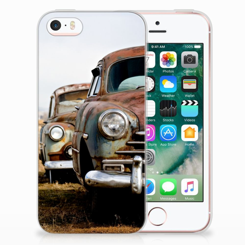 Apple iPhone SE   5S Siliconen Hoesje met foto Vintage Auto