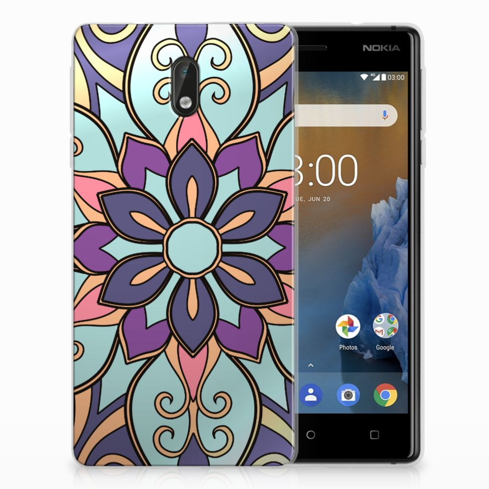 Nokia 3 TPU Hoesje Design Purple Flower