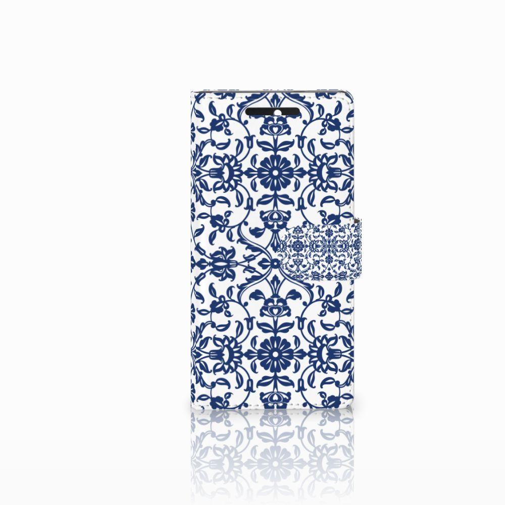 HTC Desire 628 Boekhoesje Flower Blue