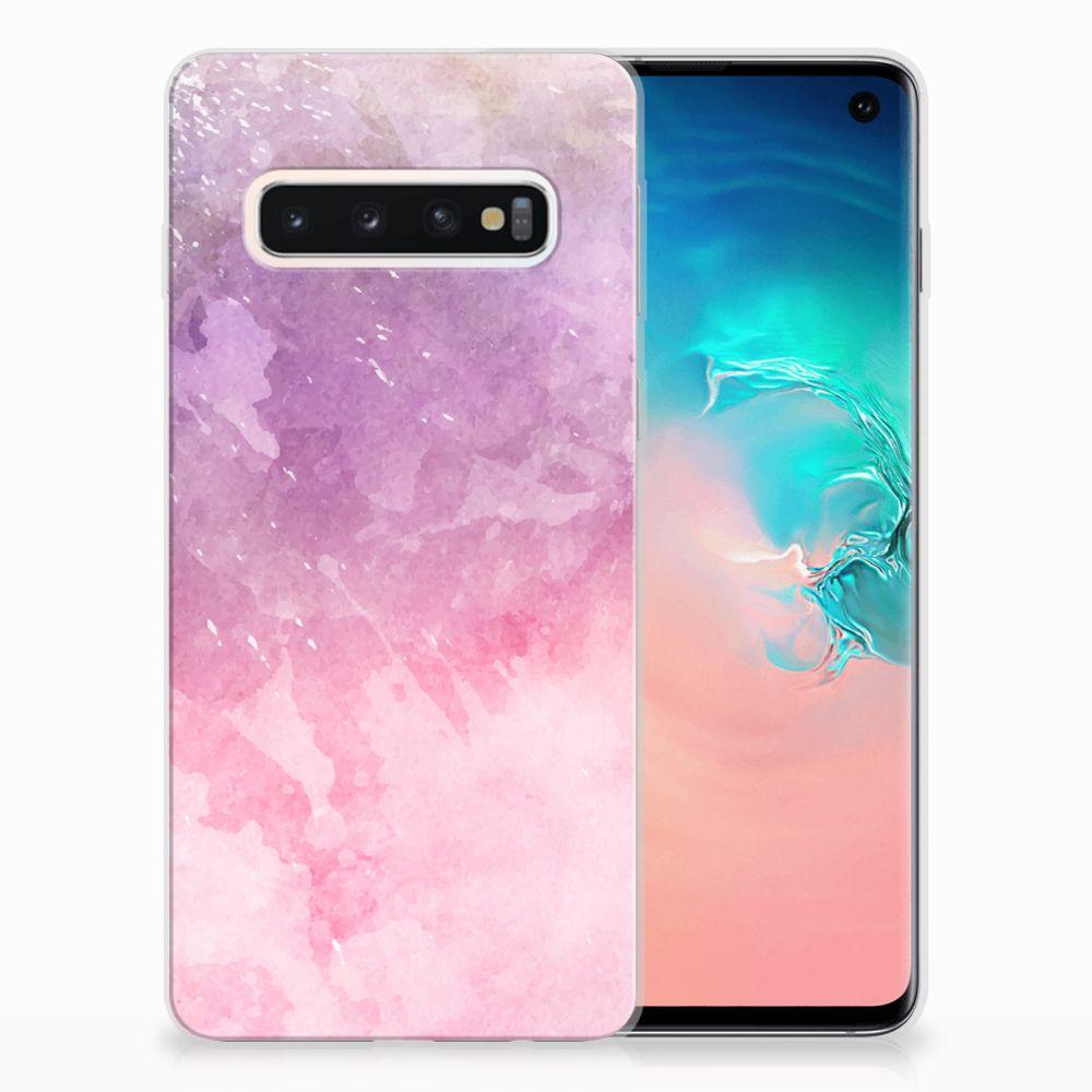Samsung Galaxy S10 TPU Hoesje Design Pink Purple Paint