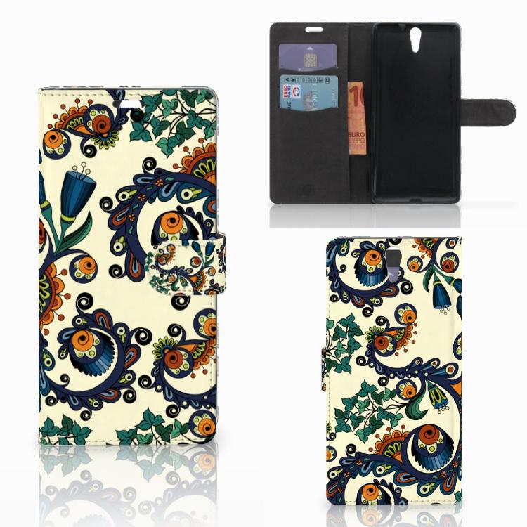 Wallet Case Sony Xperia C5 Ultra Barok Flower