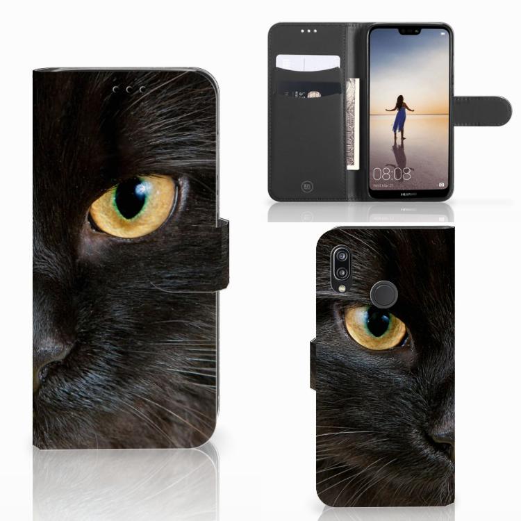 Huawei P20 Lite Telefoonhoesje met Pasjes Zwarte Kat