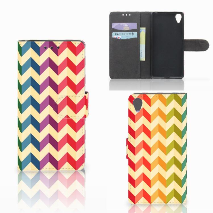 Sony Xperia X Telefoon Hoesje Zigzag Multi Color