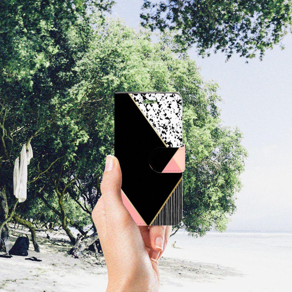 Acer Liquid Z330 Uniek Boekhoesje Black Pink Shapes