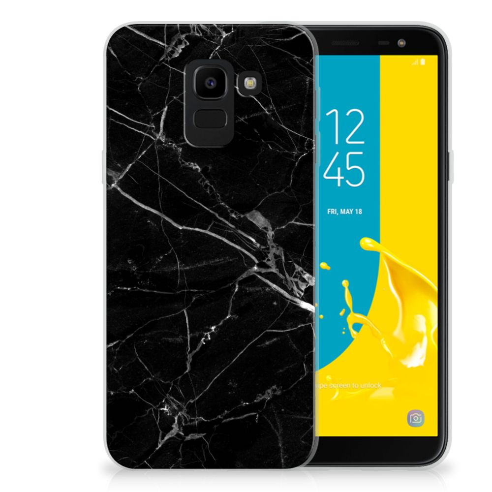Samsung Galaxy J6 2018 TPU Siliconen Hoesje Marmer Zwart