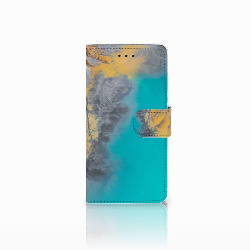 Huawei Y5 2018 Boekhoesje Design Marble Blue Gold