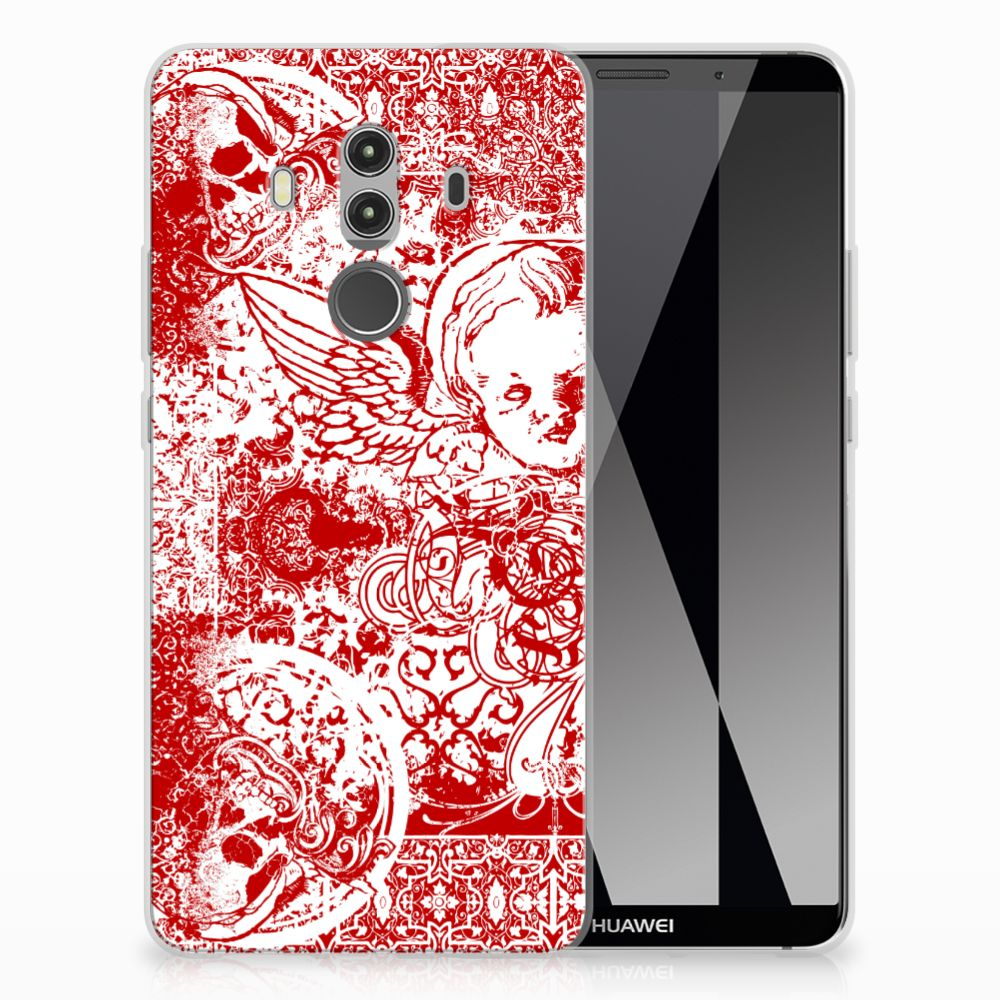 Silicone Back Case Huawei Mate 10 Pro Angel Skull Rood