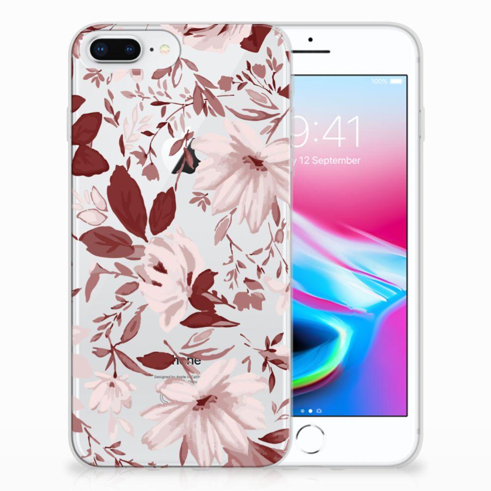 Apple iPhone 7 Plus   8 Plus Uniek TPU Hoesje Watercolor Flowers