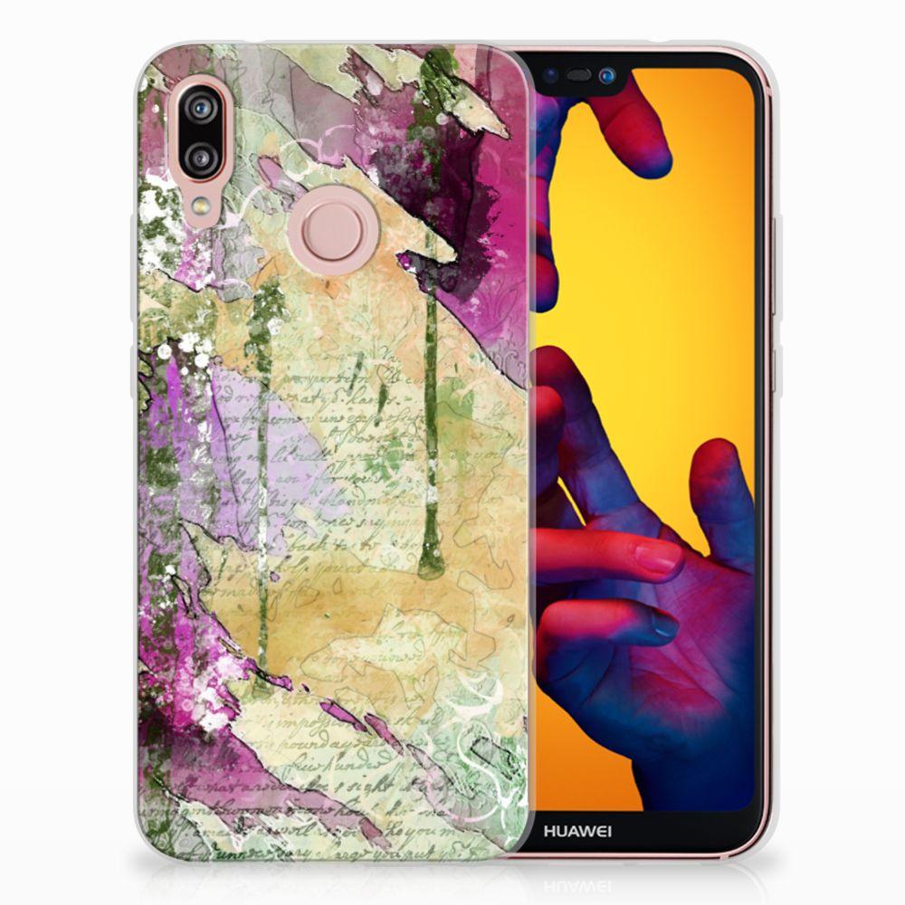 Huawei P20 Lite Uniek TPU Hoesje Letter Painting