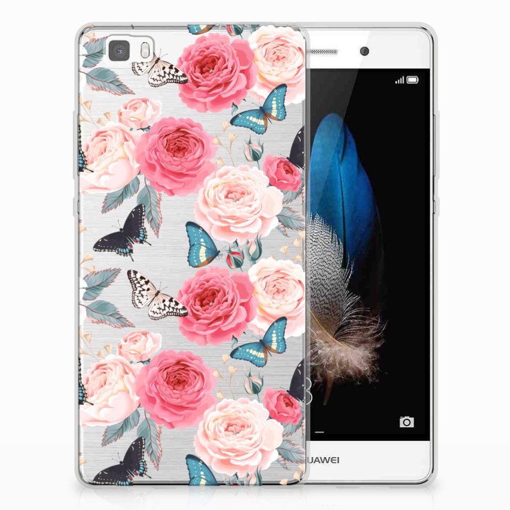 Huawei Ascend P8 Lite Uniek TPU Hoesje Butterfly Roses
