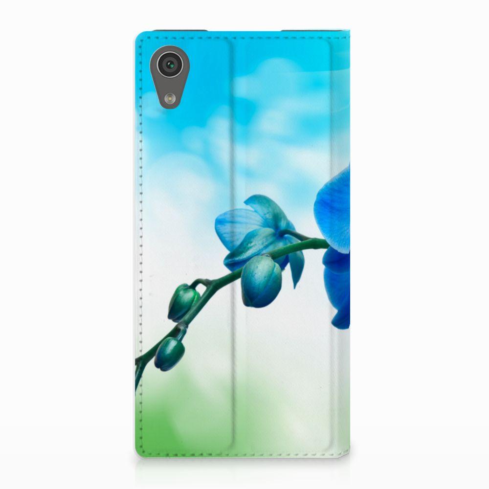 Sony Xperia XA1 Standcase Hoesje Design Orchidee Blauw