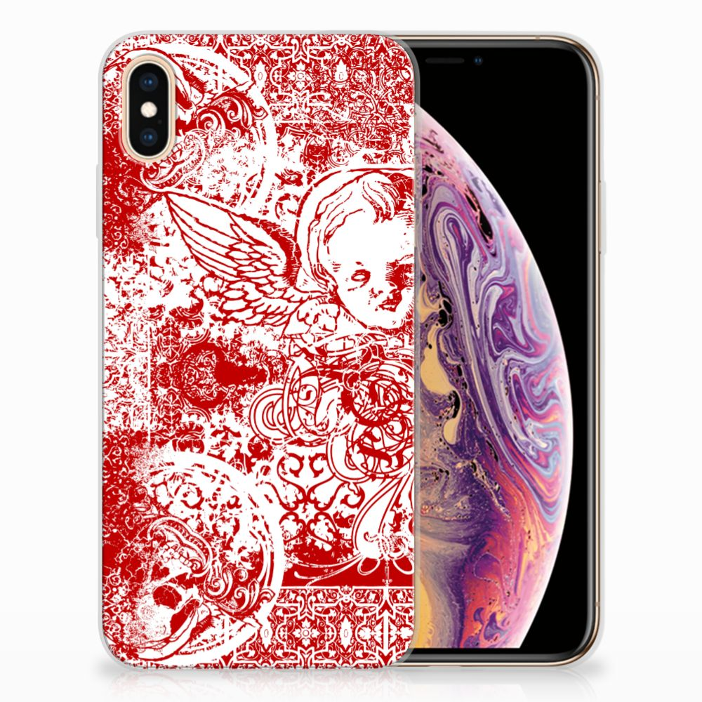 Apple iPhone Xs Max TPU Hoesje Design Angel Skull Red