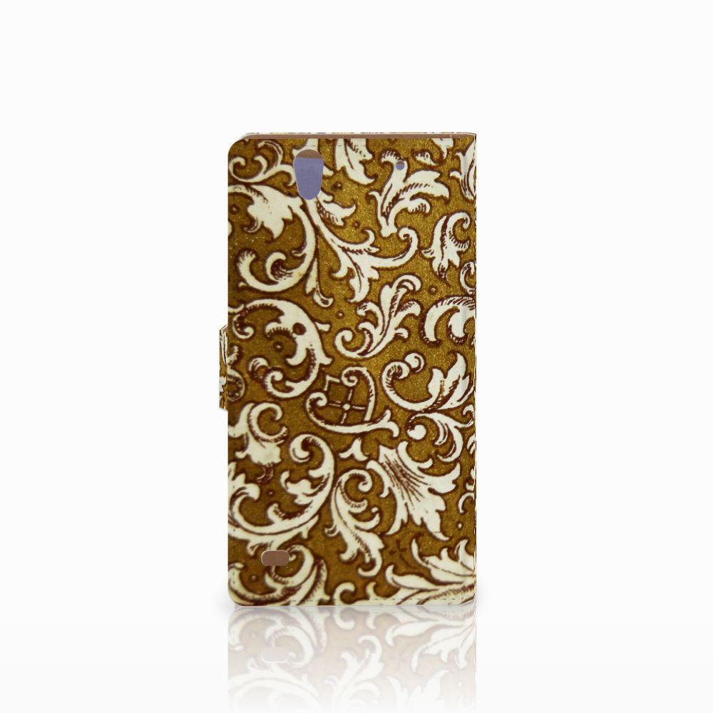 Wallet Case Sony Xperia C4 Barok Goud