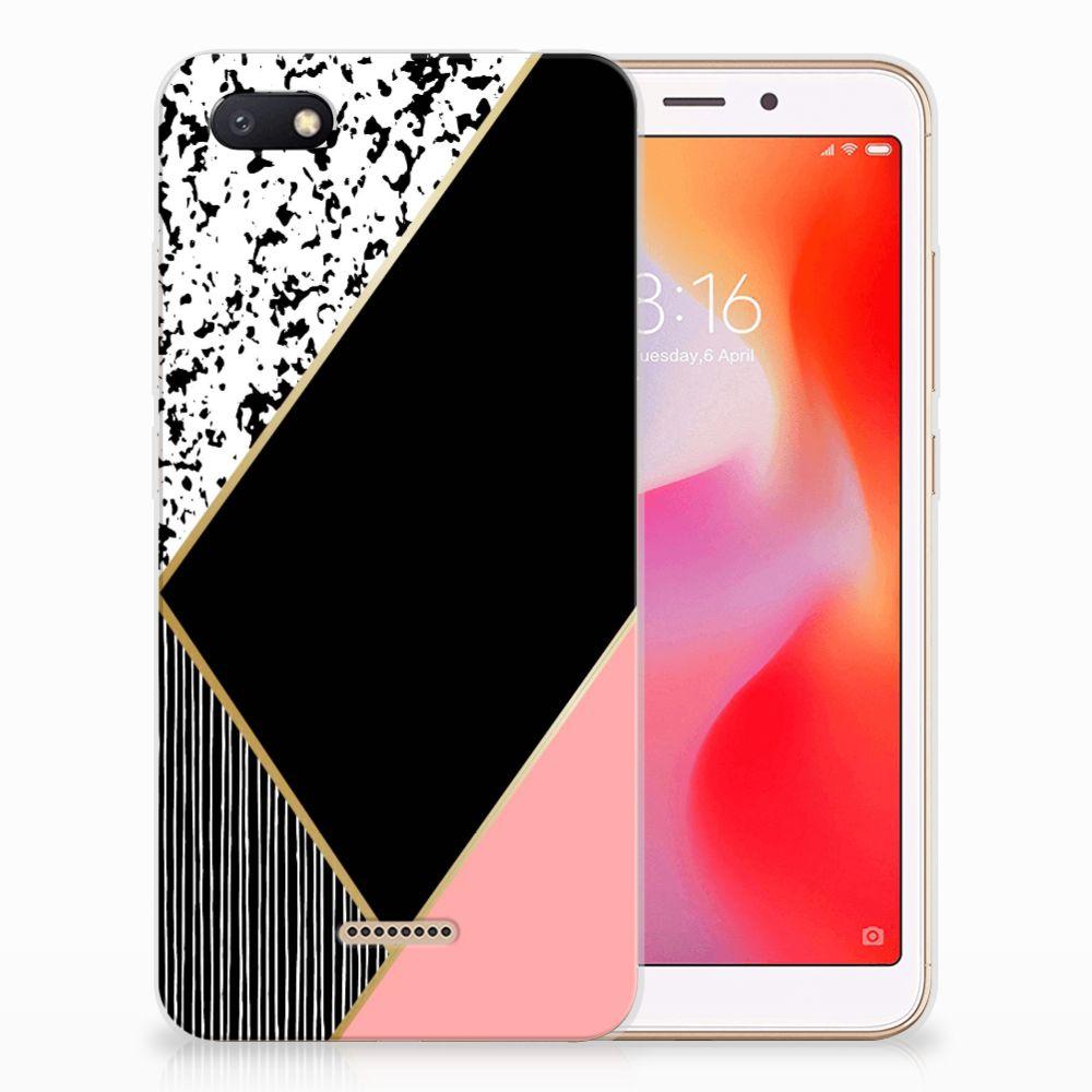 Xiaomi Redmi 6A TPU Hoesje Zwart Roze Vormen