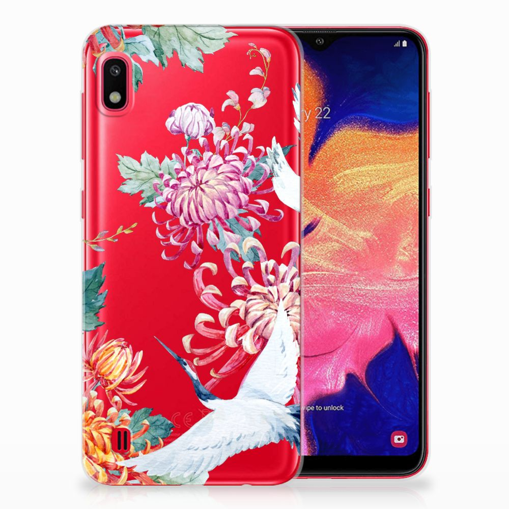 Samsung Galaxy A10 TPU Hoesje Bird Flowers