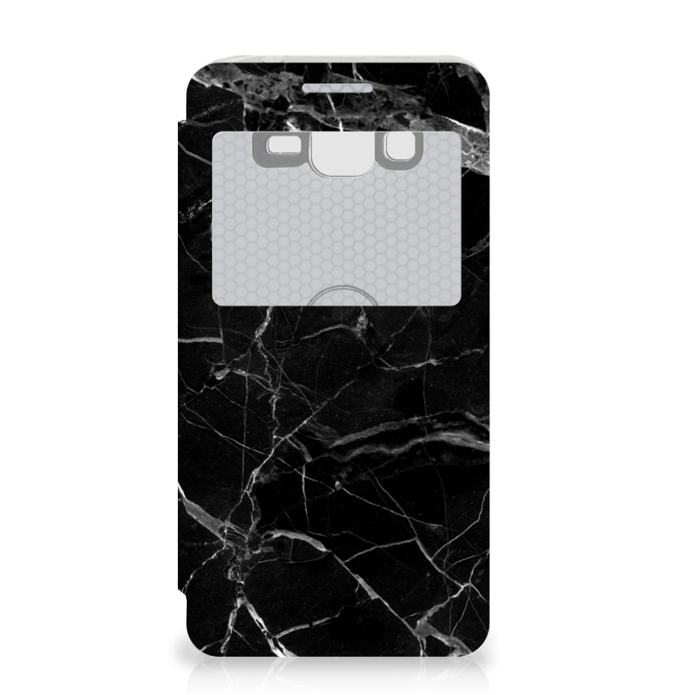 Samsung Galaxy Grand Prime Bookcase Marmer Zwart - Origineel Cadeau Vader