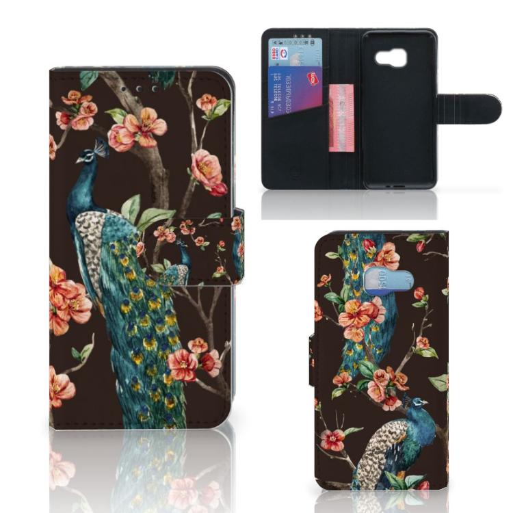 Samsung Galaxy A3 2017 Telefoonhoesje met Pasjes Pauw met Bloemen