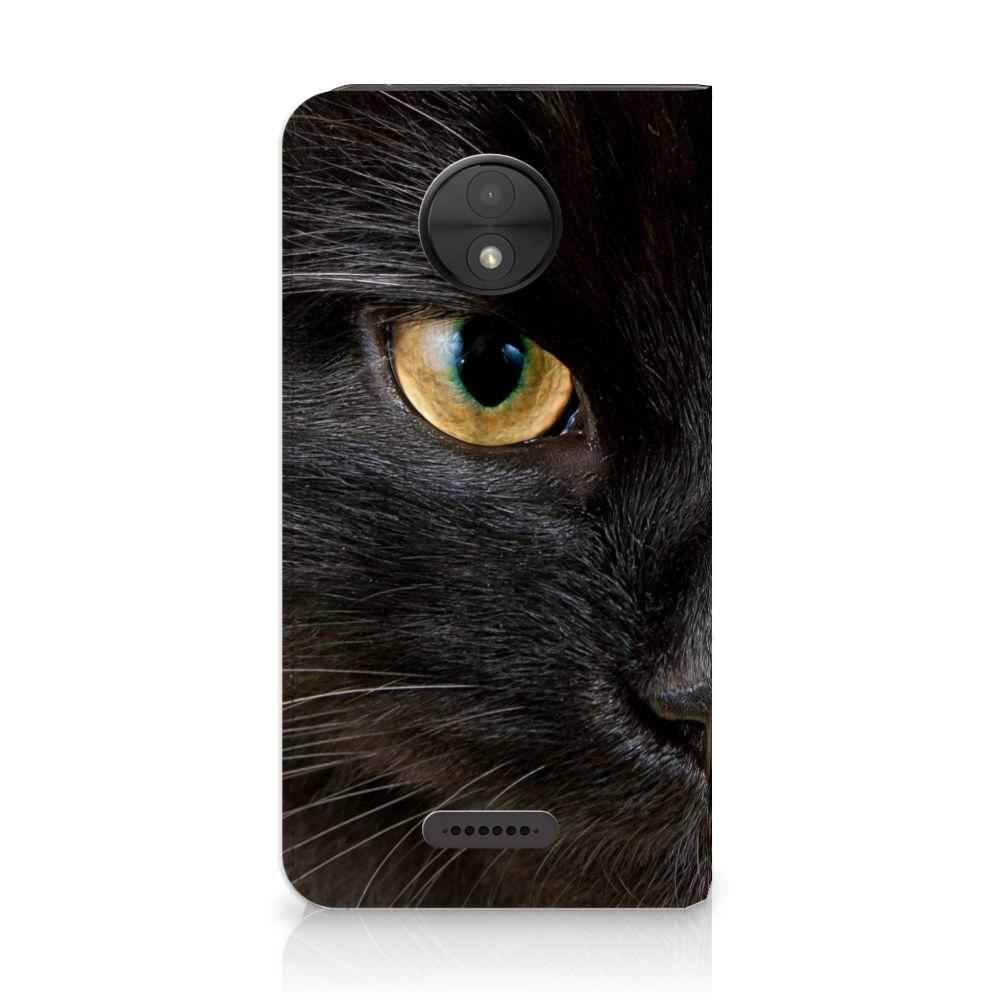 Motorola Moto C Uniek Standcase Hoesje Zwarte Kat