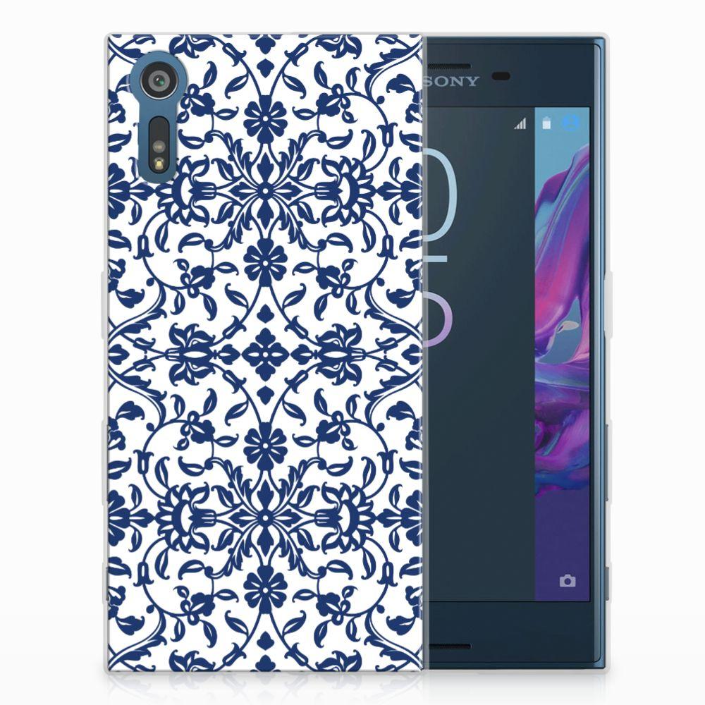 Sony Xperia XZs | XZ Uniek TPU Hoesje Flower Blue