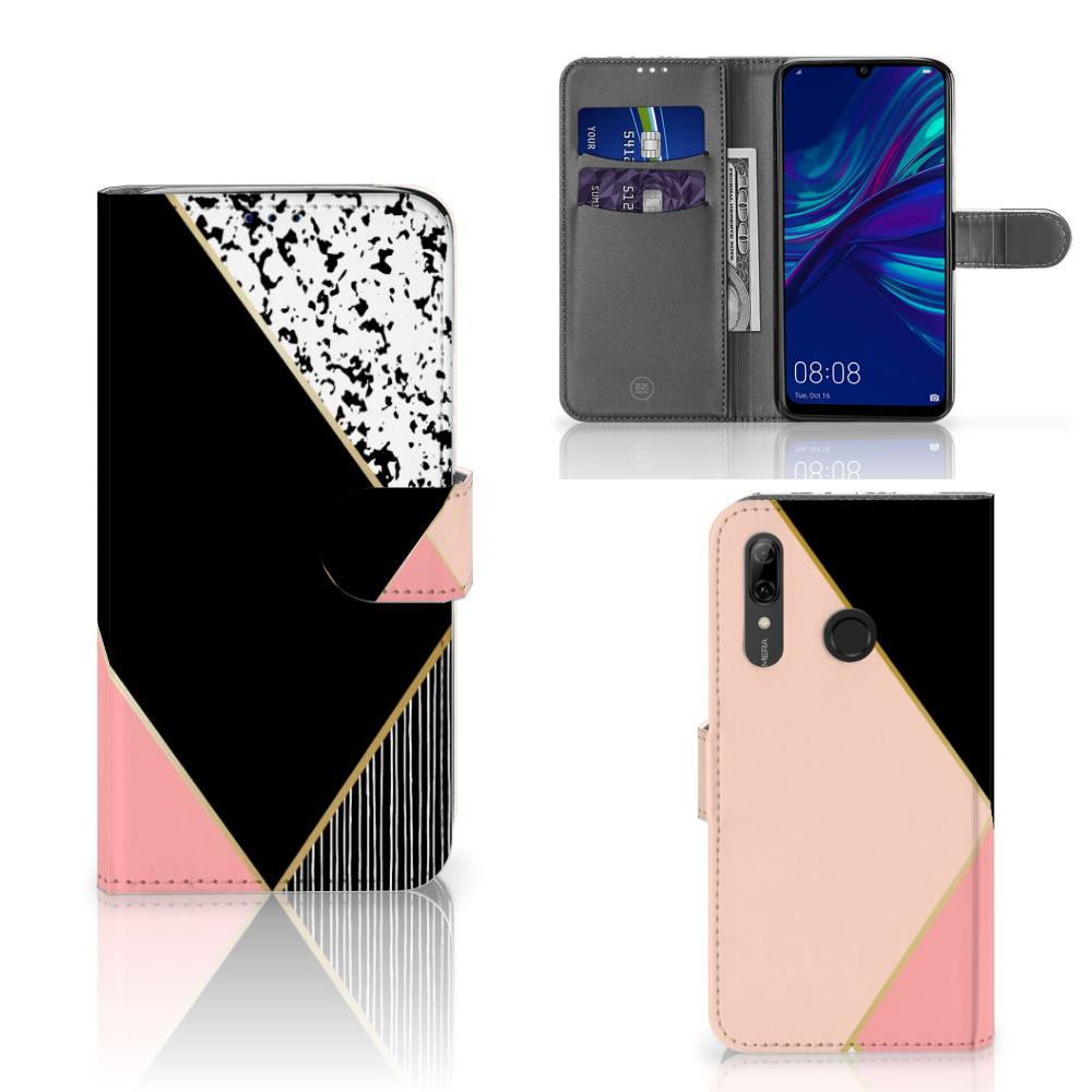 Huawei P Smart Plus (2019) Bookcase Zwart Roze Vormen