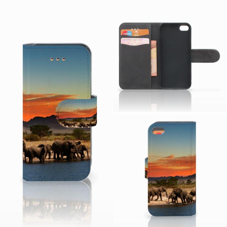 Apple iPhone 5C Telefoonhoesje met Pasjes Olifanten