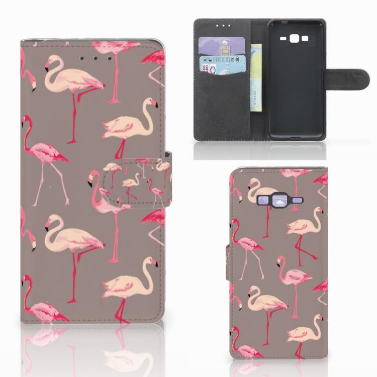 Samsung Galaxy Grand Prime | Grand Prime VE G531F Telefoonhoesje met Pasjes Flamingo
