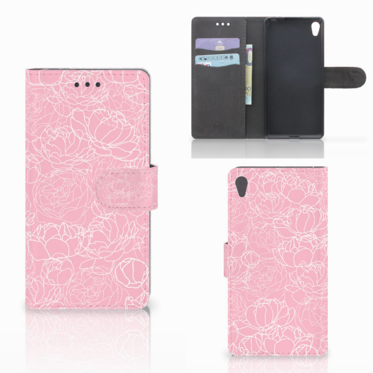 Sony Xperia E5 Wallet Case White Flowers