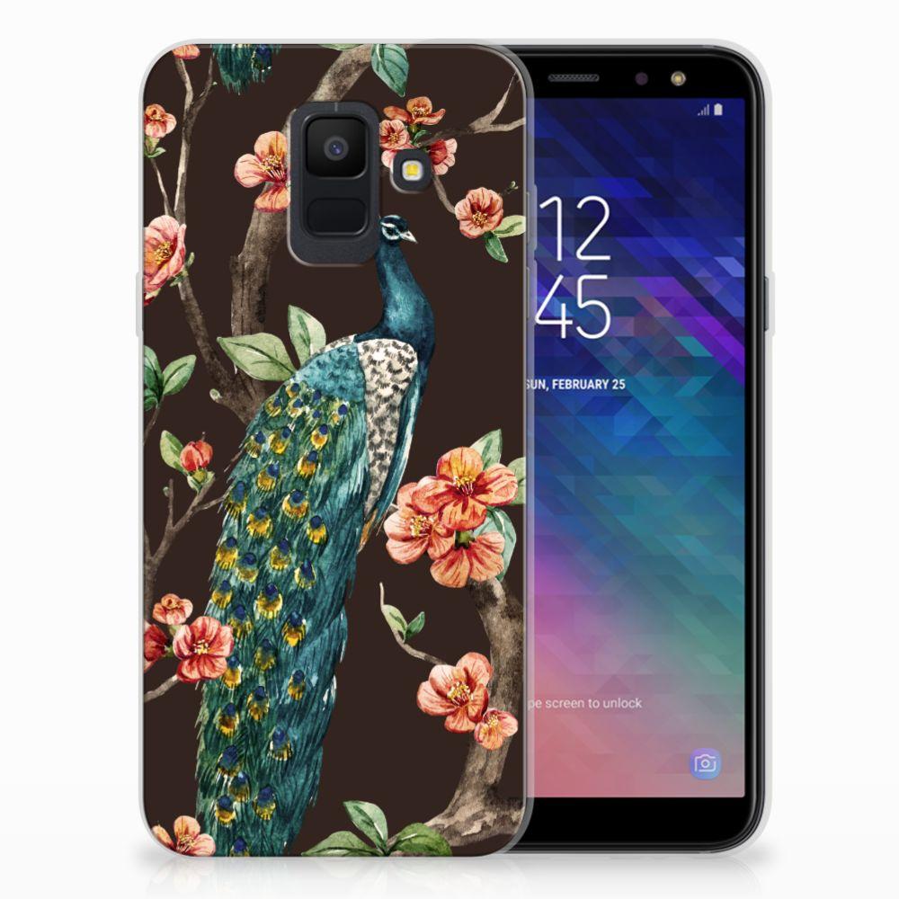 Samsung Galaxy A6 (2018) TPU Hoesje Pauw met Bloemen