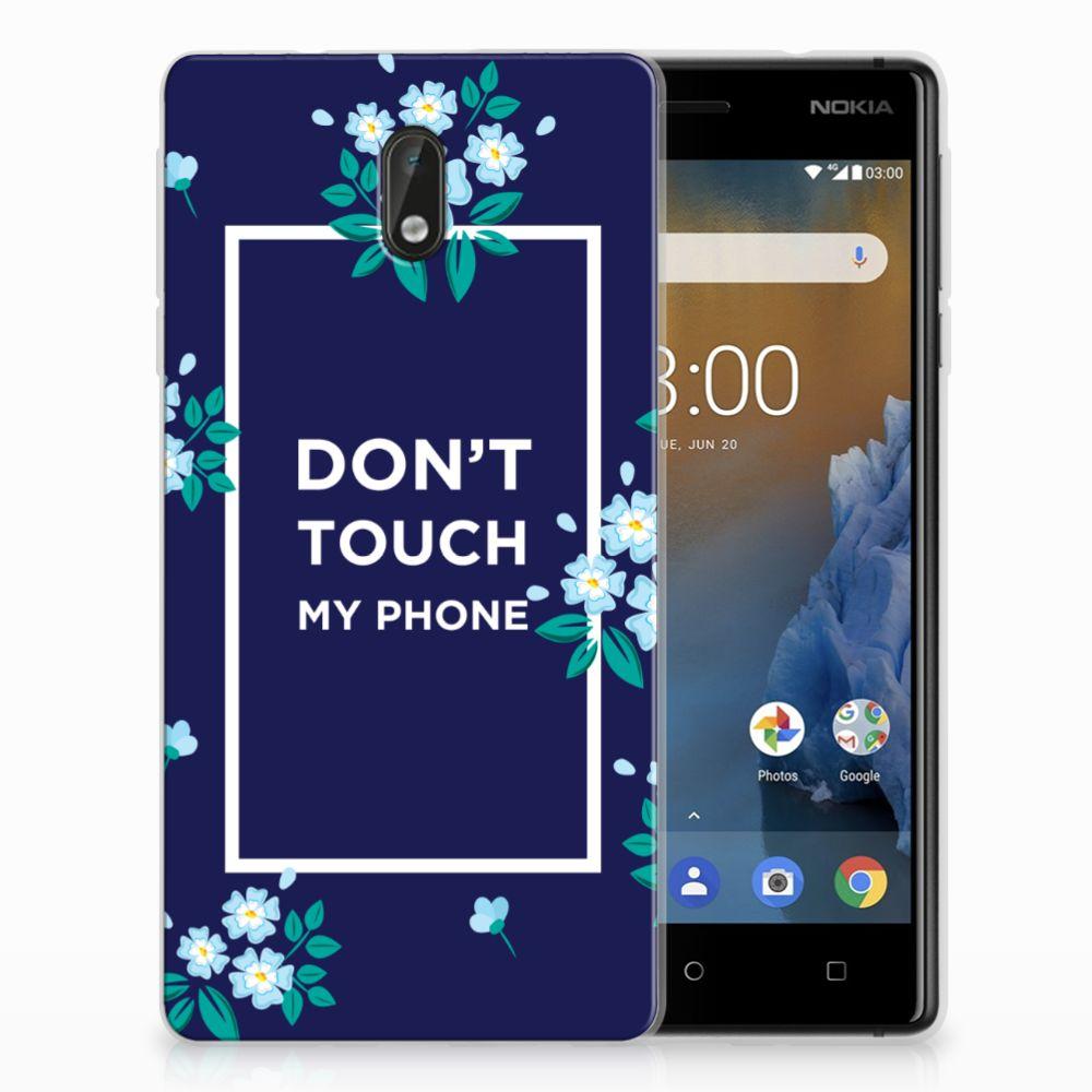 Nokia 3 TPU Hoesje Flowers Blue DTMP