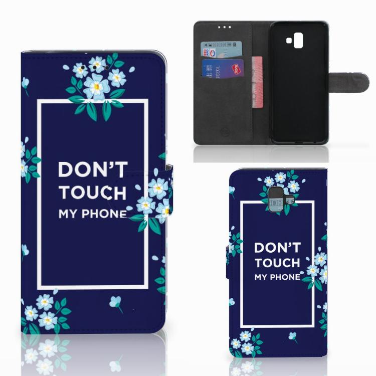 Samsung Galaxy J6 Plus (2018) Portemonnee hoesje Flowers Blue DTMP