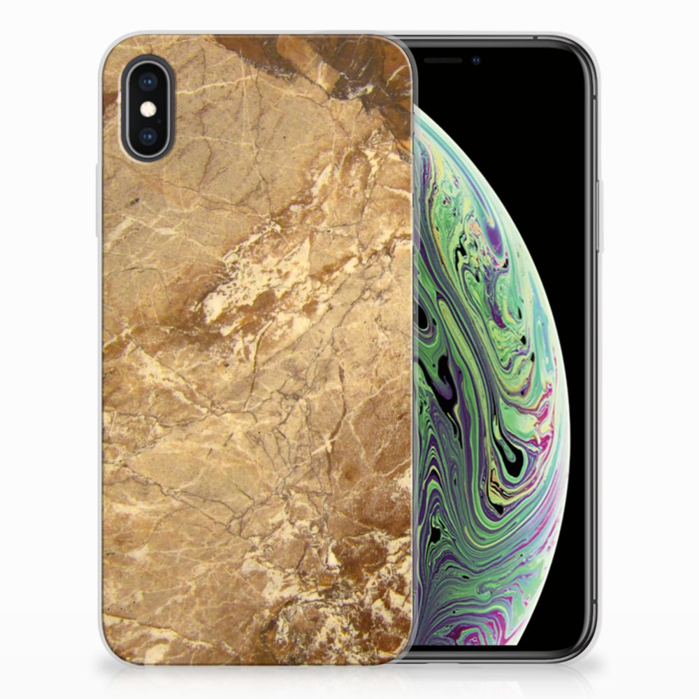 Apple iPhone Xs Max TPU Siliconen Hoesje Marmer Creme