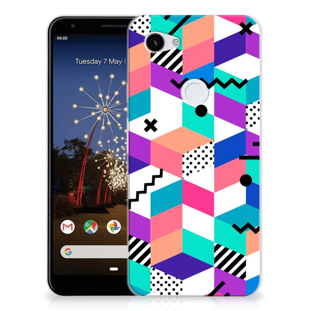 Google Pixel 3A XL TPU Hoesje Blokken Kleurrijk
