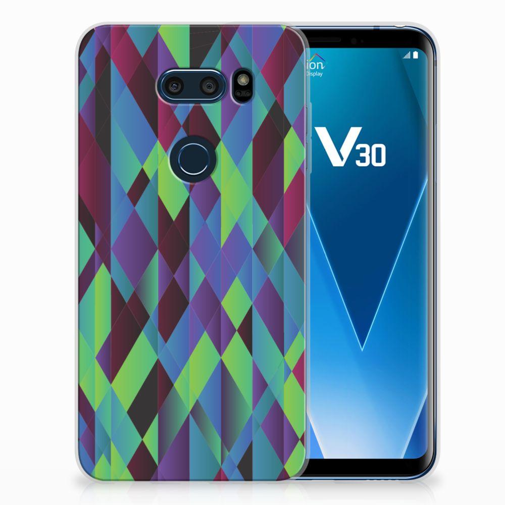 LG V30 TPU Hoesje Design Abstract Green Blue