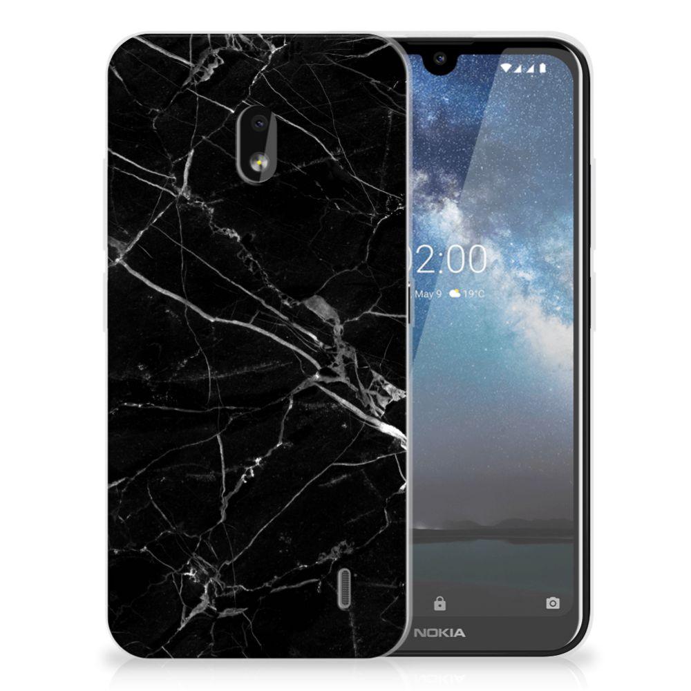Nokia 2.2 TPU Siliconen Hoesje Marmer Zwart - Origineel Cadeau Vader