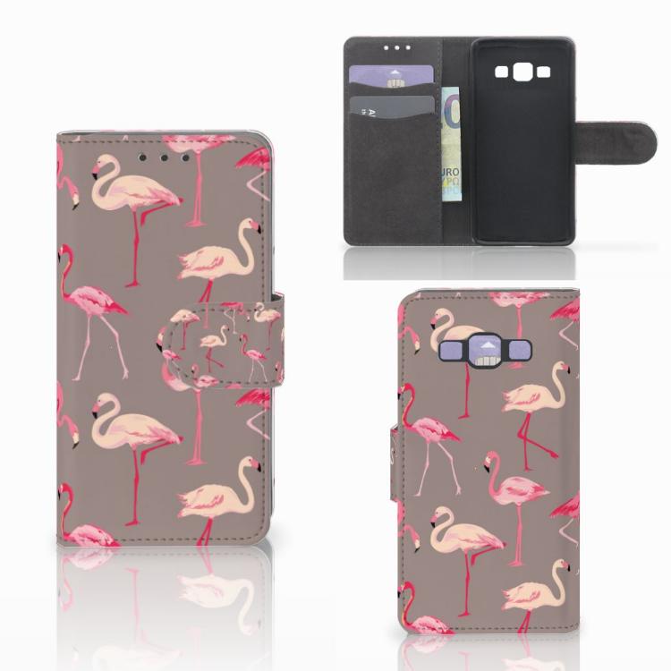 Samsung Galaxy A3 2015 Telefoonhoesje met Pasjes Flamingo
