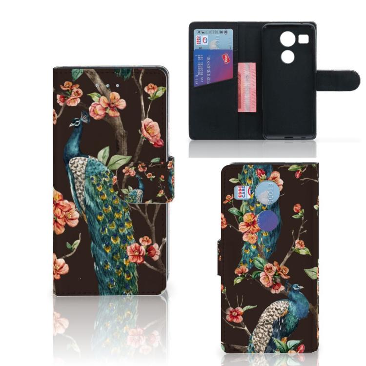 LG Nexus 5X Telefoonhoesje met Pasjes Pauw met Bloemen