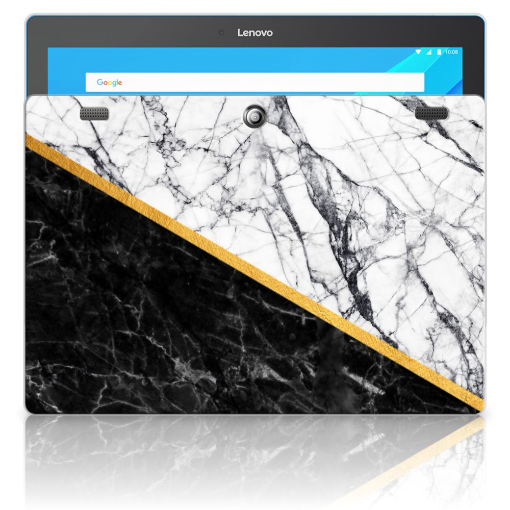Lenovo Tab 10 | Tab 2 A10-30 Tablet Back Cover Marmer Wit Zwart