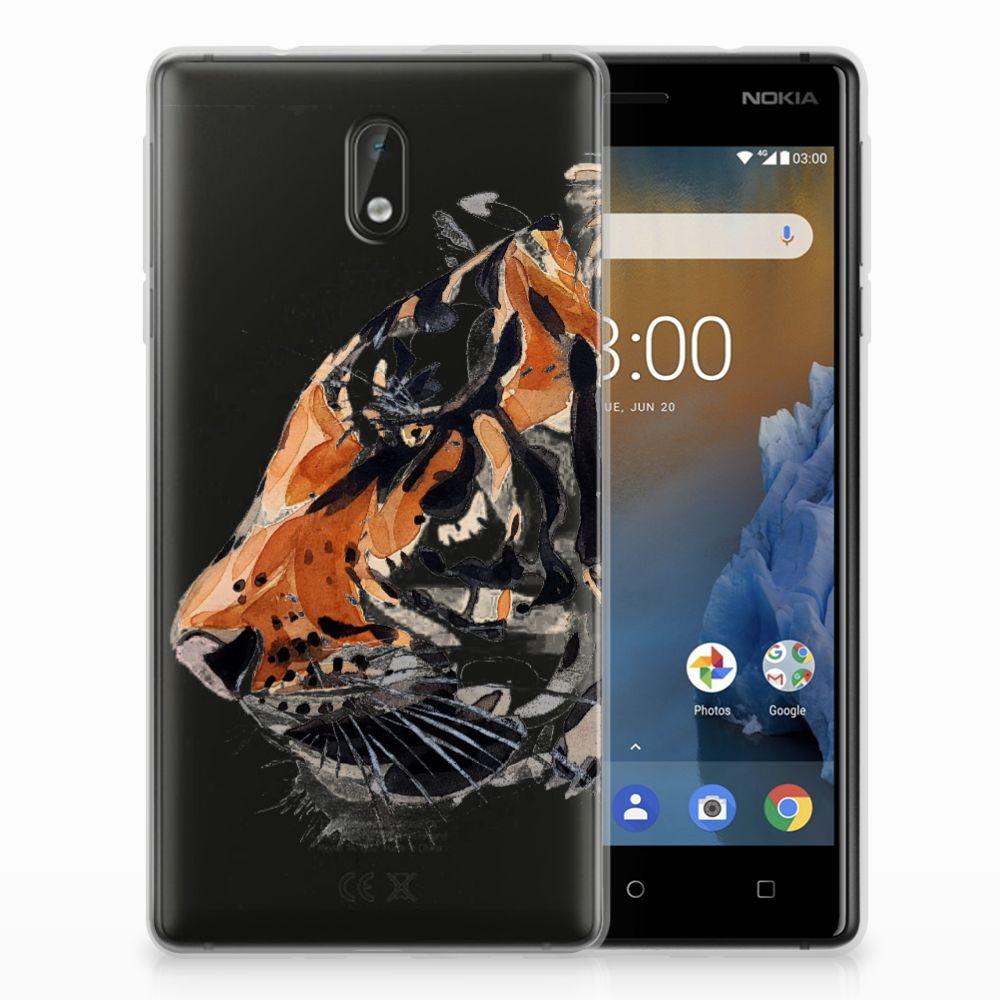 Nokia 3 Uniek TPU Hoesje Watercolor Tiger