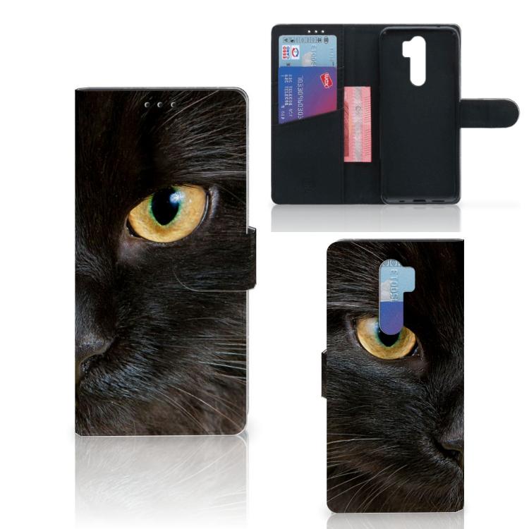 Xiaomi Note 8 Pro Telefoonhoesje met Pasjes Zwarte Kat