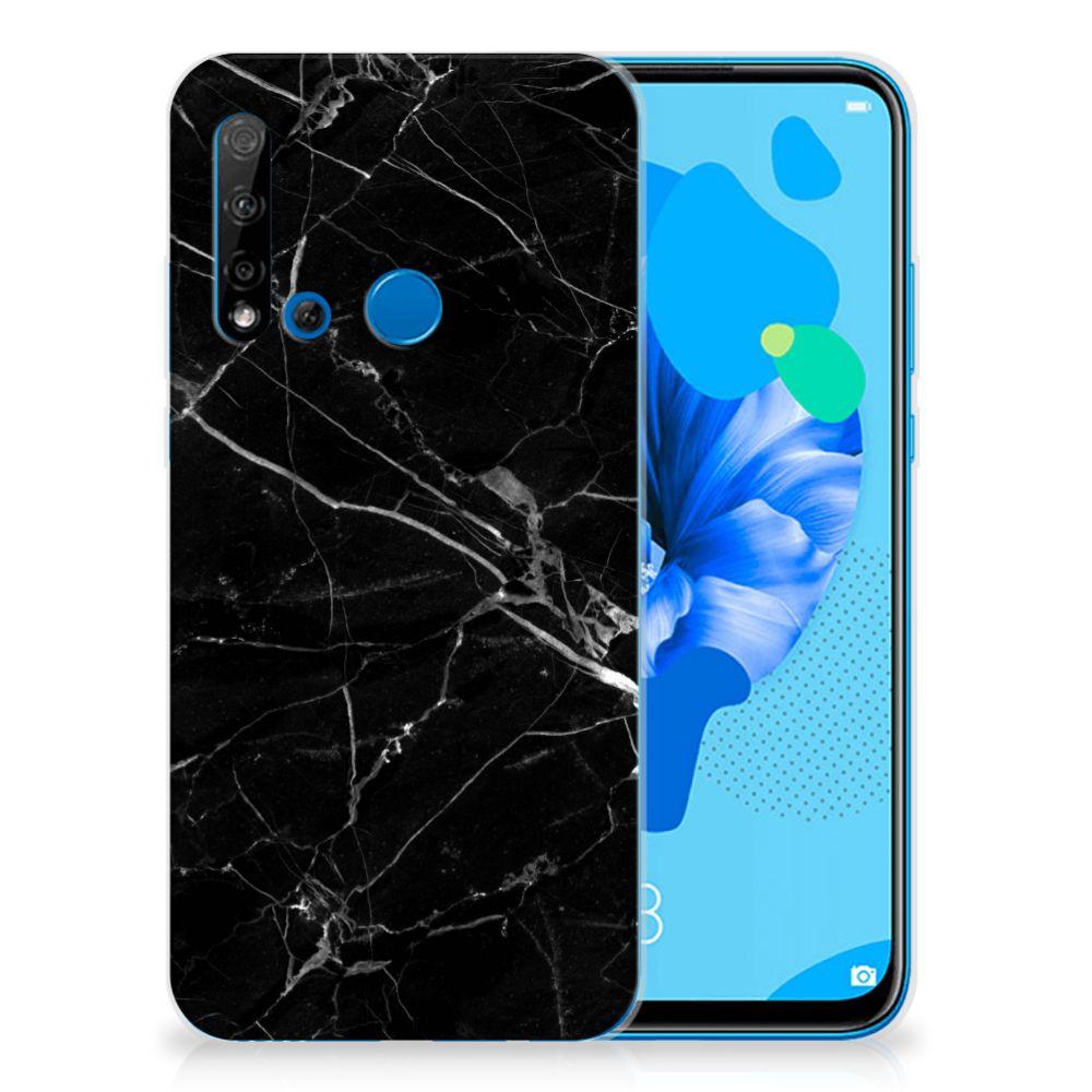 Huawei P20 Lite (2019) TPU Siliconen Hoesje Marmer Zwart - Origineel Cadeau Vader